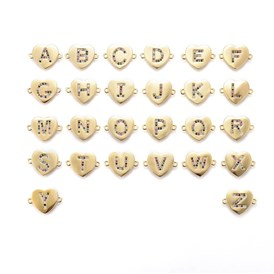 Brass Micro Pave Cubic Zirconia Links, Heart with Alphabet