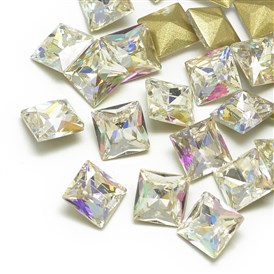 DIY Pointed Back K9 Glass Rhinestone Cabochons, Back Plated, Faceted, Square