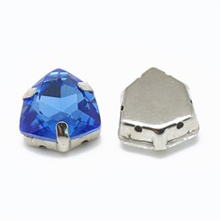 Sapphire Sew on Rhinestone, K9 Glass Rhinestone, with Platinum Tone Brass Prong Settings, Garments Accessories, Triangle, Sapphire, 12.5x12x6mm, Hole: 0.8mm