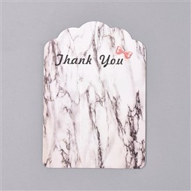 Cardboard Hair Clip Display Cards, Marble Texture Pattern, Word Thank You, Rectangle