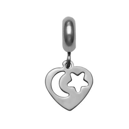304 Stainless Steel European Dangle Beads, Heart, Large Hole Pendants-1