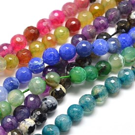 Dyed Natural Agate Faceted Round Beads Strands, 8mm, Hole: 1mm; about 48pcs/strand, 14.5""