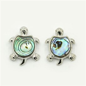 Abalone/Paua Shell Pendants, with Brass Findings, Tortoise, Platinum Metal Color, Colorful, 26x21x4.5mm, Hole: 3x5mm