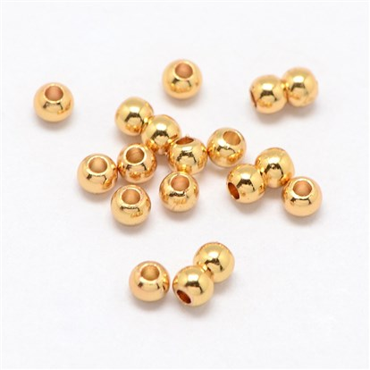 Real Gold Plated Alloy Round Bead Spacers, 3x2mm, Hole: 1mm-1