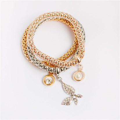 Alloy Stretch Charm Bracelets, Popcorn Chain, with Rhinestone and Imitation Pearl, Ring & Butterfly-1