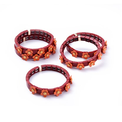 Tile Elastic Bracelets, Spray Painted Alloy Stretch Bracelets, with Synthetic Gemstone, Square with Flower