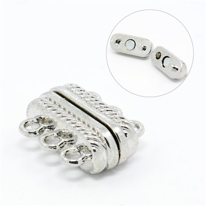 3-Strand Rectangle Alloy Magnetic Clasps, 6 Holes, 18x15x7mm, Hole: 2mm-1
