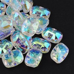 Clear Taiwan Acrylic Rhinestone Buttons, Faceted, 1-Hole, Rectangle, Clear, 30x21x10.5mm, Hole: 2mm