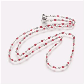 304 Stainless Steel Chain Necklaces, with Enamel Links, Platinum