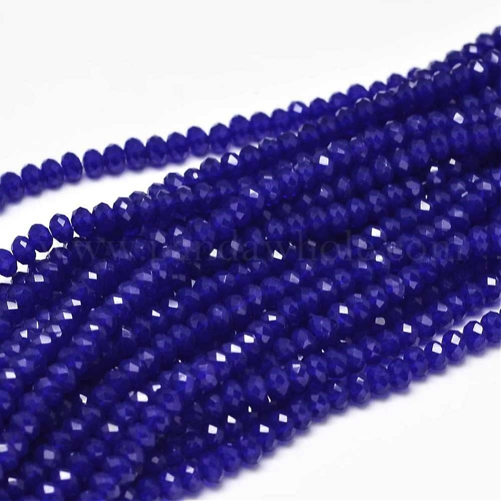 -4MM 1 STRAND FACETED RONDELLE GLASS BEADS ROSE CRAFTS//JEWELLY DARK LILAC