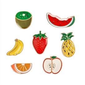 Creative Zinc Alloy Brooches, Enamel Lapel Pin, with Iron Butterfly Clutches, Kiwi Fruit & Strawberry & Pineapple & Watermelon & Banana & Apple & Orange, Golden