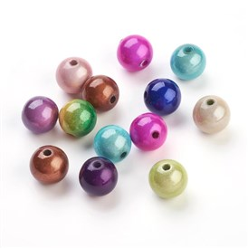 Spray Painted Acrylic Beads, Miracle Beads, Bead in Bead, Round, 12mm, Hole: 2mm