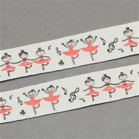 "Ballet Girls Printed Cotton Ribbon, 5/8""(15mm); about 20yards/roll(18.28m/roll)"