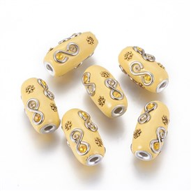 Handmade Indonesia Beads, with Rhinestone, and Alloy Findings, Barrel with Infinity