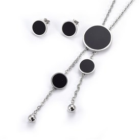 304 Stainless Steel Stud Earrings & Lariat Necklaces Jewelry Sets, with Resin, Flat Round