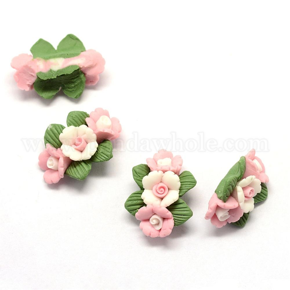 Wholesale Handmade Porcelain Cabochons China Clay Beads Flower In