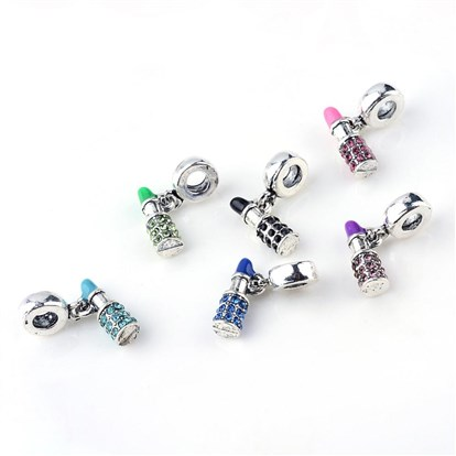 Alloy Rhinestone European Dangle Beads, Enamel Style, Lipstick, Large Hole Beads, Platinum-1