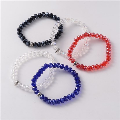 Korean Elastic Thread Glass Beaded Stretch Bracelet Makings, with 304 Stainless Steel Findings, 55mm