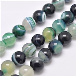 "CadetBlue Natural Striped Agate/Banded Agate Bead Strands, Dyed & Heated, Round, Grade A, CadetBlue, 14mm, Hole: 2mm; about 28pcs/strand, 14.9""(380mm)"