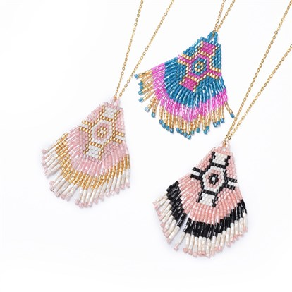 Handmade Japanese Seed Beads Tassels Pendant Necklaces, with Brass Chain