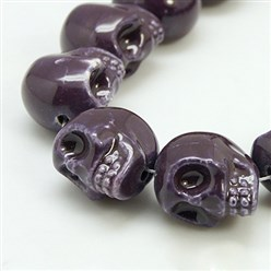 Indigo Handmade Porcelain Beads Strands, Bright Glazed Style, Skull, Halloween, Indigo, about 15mm wide, 18mm long, 18mm thick, Hole: 1.5mm