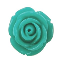 MediumTurquoise Resin Cabochon, Flower, MediumTurquoise, 15x6mm