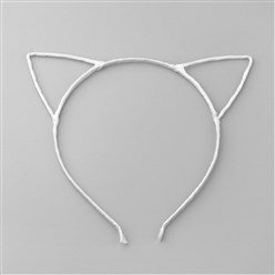 White Hair Accessories Iron Hair Band Findings, with Polyester Ribbon, Cat, White, 113~124mm