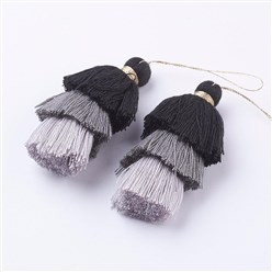 Black Nylon Tassels Big Pendant Decorations, Three Layers, Black, 70x40mm