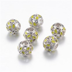 GreenYellow Alloy Enamel European Beads, Rhinestones, Large Hole Beads, Rondelle with Leaf, Silver, GreenYellow, 11x9~9.5mm, Hole: 4mm