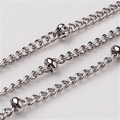 316 Stainless Steel Twisted Chains Curb Chain, Decorative Chain, with Rondelle Beads, 2mm-1
