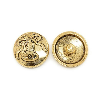 Alloy Button for Enamel, Flat Round with Bell Pattern, for Christmas, Cadmium Free & Nickel Free & Lead Free, 19.5x7mm, Knob: 5.5mm-1