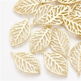 Brass Pendants, Leaf, Real 18K Gold Plated
