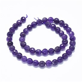 Natural Amethyst Beads Strands, Faceted, Round