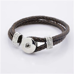CoconutBrown Leather Cord Snap Bracelet Making, with Environmental Zinc Alloy Grade A Rhinestones Snap Leather Cord Clasps and Snaps, Platinum, CoconutBrown, 230x11mm; Fit Snap Buttons in 6mm Knob