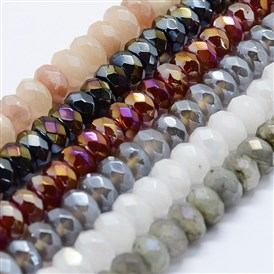 Electroplated Natural Gemstone Beads Strands, Rondelle, Faceted