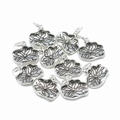 Antique Silver Thai 925 Sterling Silver Charms, Carved 925, with Jump Ring, Lotus Leaf, Antique Silver, 13.5x15x2mm, Hole: 4mm