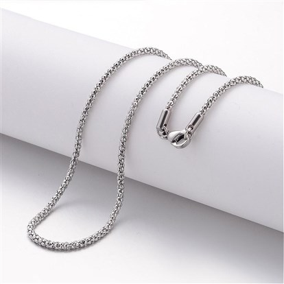 304 Stainless Steel Necklace Making, Popcorn Chains, with Lobster Clasps-1