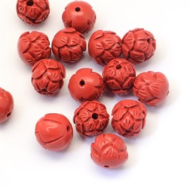 Round/Flower Bud Cinnabar Beads, 13~14mm, Hole: 2~3mm