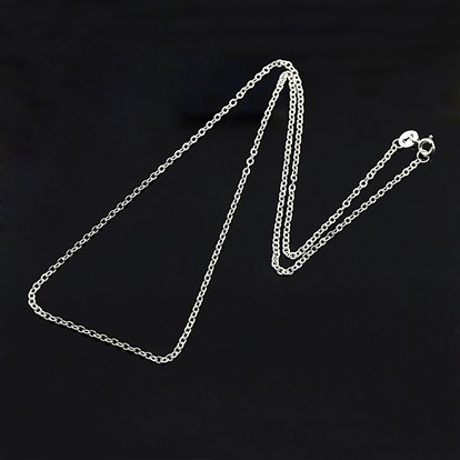 Sterling Silver Necklaces, Cable chains, with Spring Ring Clasps, Thin Chain-1