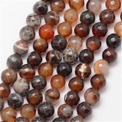 CoconutBrown Natural Fire Agate Bead Strands, Round, Grade A, Faceted, Dyed & Heated, CoconutBrown, 8mm, Hole: 1mm; about 47pcs/strand, 15""