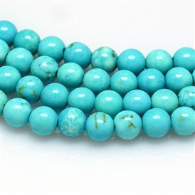 Natural Howlite Beads Strands, Dyed & Heated, Round