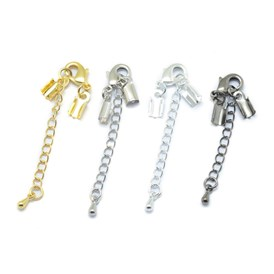 Brass Chain Extender and Lobster Claw Clasps, Size: about 32mm long, Chains: 50mm; Ends: 10x5mm; Clasps: 12x6mm.