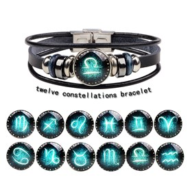 Braided Leather Cord Retro Multi-strand Bracelets, with Alloy and Glass Findings, Stainless Steel Clasps, Flat Round with Constellation