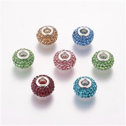 Mixed Color Grade A Rhinestone European Beads, Large Hole Beads, Resin, with Silver Color Brass Core, Rondelle, Mixed Color, 12x8mm, Hole: 4mm