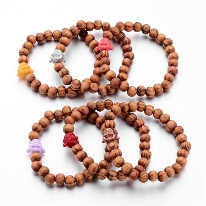 Wood Bead Stretch Bracelets, with Dyed Coral Beads and Elastic Crystal Thread-1
