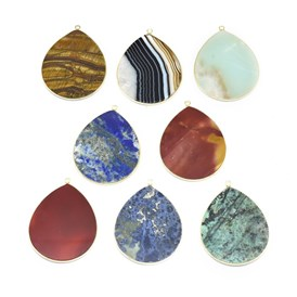 Natural Gemstone Pendants, with Brass Findings, Drop