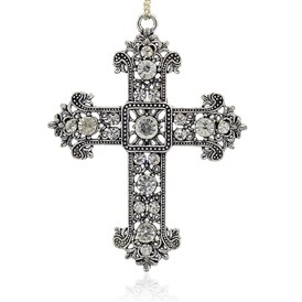 Antique Silver Plated Alloy Rhinestone Cross Big Pendants, Budded Cross