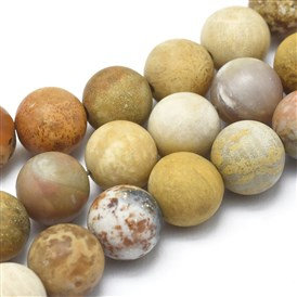 Natural Chrysanthemum Stone Beads Strands, Frosted, Round