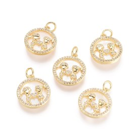 Brass Micro Pave Cubic Zirconia Pendants, with Jump Rings and Shell, Flat Round and Lover