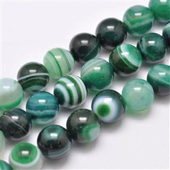 "SeaGreen Natural Striped Agate/Banded Agate Bead Strands, Dyed & Heated, Round, Grade A, SeaGreen, 14mm, Hole: 2mm; about 28pcs/strand, 14.9""(380mm)"